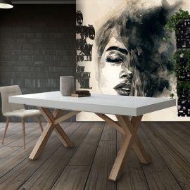 Tavolo allungabile bianco con struttura in massello naturale Rico
