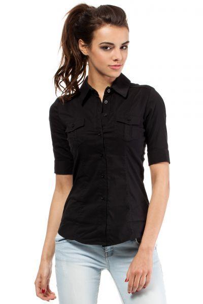 Klasyczna czarna koszula z krótkim rękawem