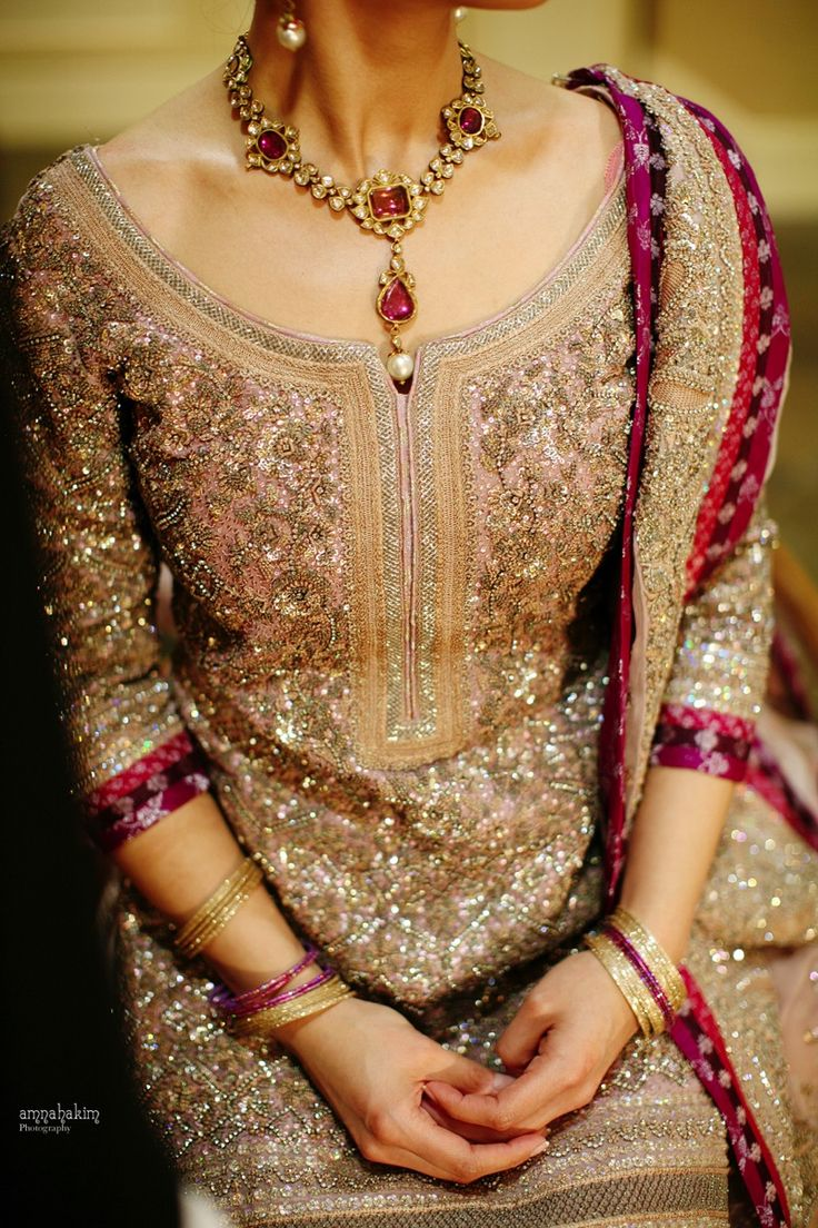 Pakistani wedding dress. Gold bridal anarkali