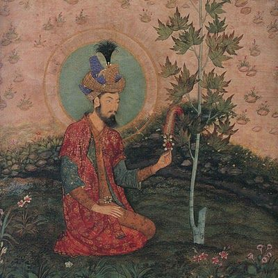 ca. 1650 Emperor Humayun seated in a landscape (detail), Mughal India, artist : Payag ca. 1595-1655. Son of Babar and father of Akbar,  Freer Sackler DC