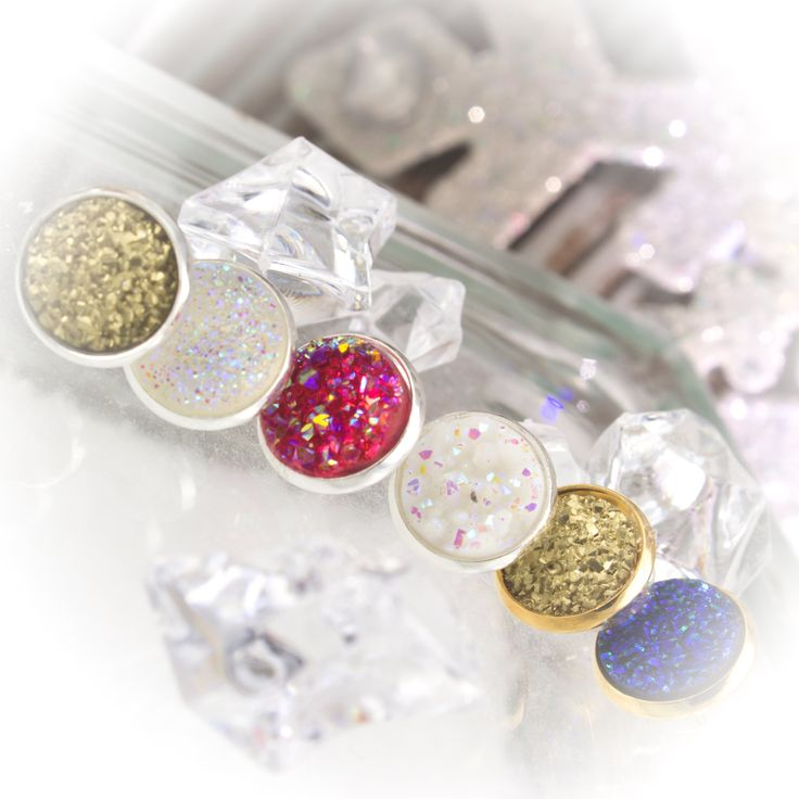 Faux Druzy 12mm post earrings set in silver and gold bezels  210064EC by LaraBellaJewelry on Etsy