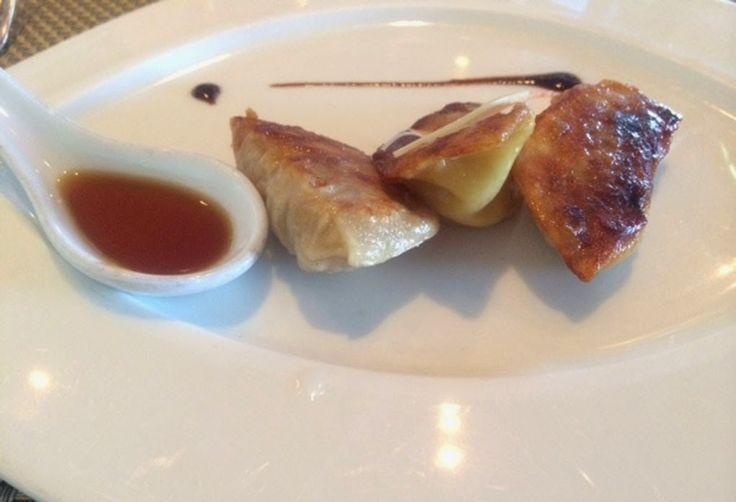 Fine Dining at Sea: Tamarind Restaurant - These aren't your usual dumplings - pork, chicken, and lobster!