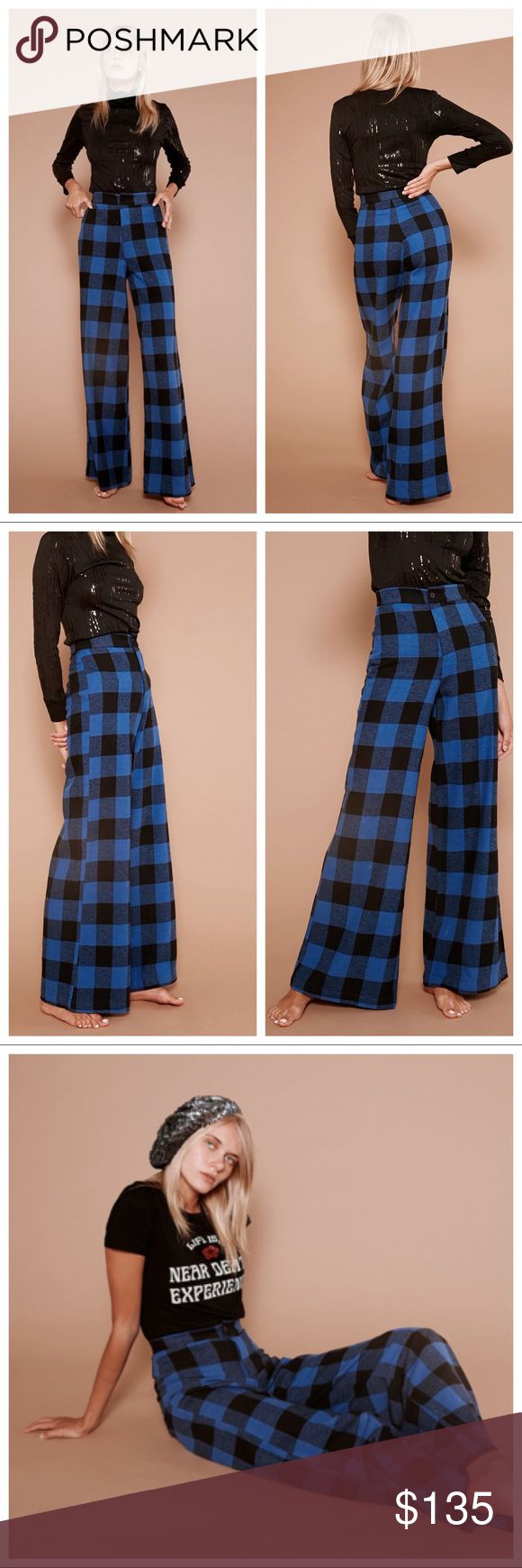 "Sugarhigh Lovestoned, plaid Woody wide leg pants Brand new, no tags. Only tried on.  Channel your inner Woody Allen and rock these super soft plaid pants in a major way. Model is wearing size: 0"" Made of super soft 100% cotton flannel Sewn in California.   HIGH WAIST: measure the smallest part of your waist between your ribs and your hips. ✿ Size 4 