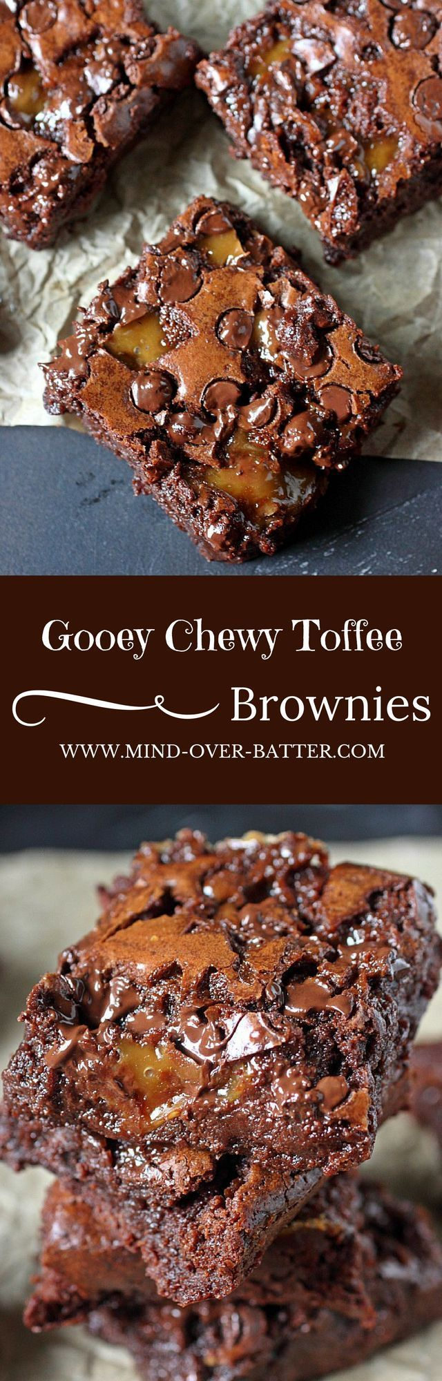 Gooey Chewy Toffee Brownies -- mind-over-batter.com #Toffee