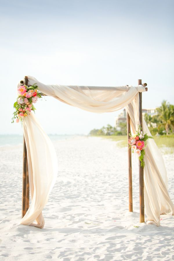 Elegant Draped Beach Ceremony Backdrop | Set Free Photography| http://heyweddinglady.com/tropical-beach-glam-bahamas-wedding-sparkling-gold-pink/