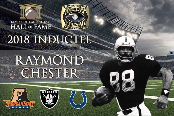Raymond Chester played Tight End for Morgan State University and was a member of Morgan State's 1968 undefeated team.    He was then selected by The Oakland Raiders with the 24th overall pick in the 1970 NFL Draft. He played in the NFL for the Raiders (1970-1972; 1978-1981), Baltimore Colts (1973-1977). During his career, he was named NFL Rookie of the Year (1970), was a four-time Pro Bowl selection, and a Super Bowl Champion (1980).
