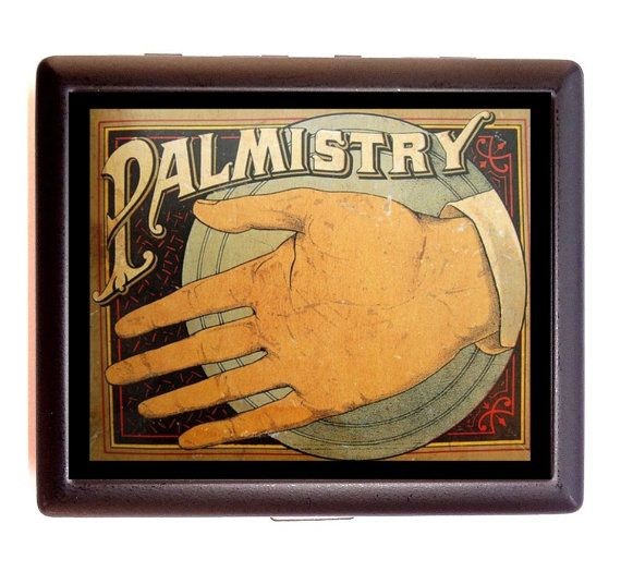 Vintage Palm Reading Palmistry Ad Image on Cigarette or Business Card Case or Metal ID wallet on Etsy, $9.99