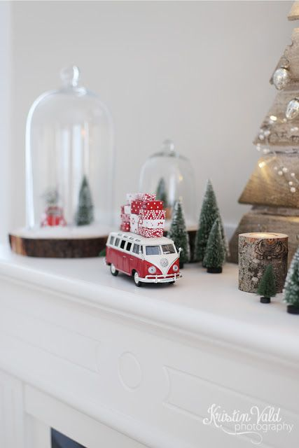 Retro scale cars, snow, gifts and Christmas trees.  Kristín Vald