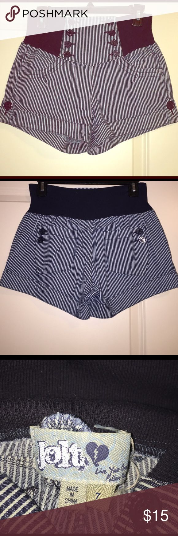 Jolt Nautical shorts Nautical high waist Pin striped navy/ white denim like material with stretch waist band! Worn once for Fourth of July. cute with crop tops!!! Jolt Shorts Jean Shorts