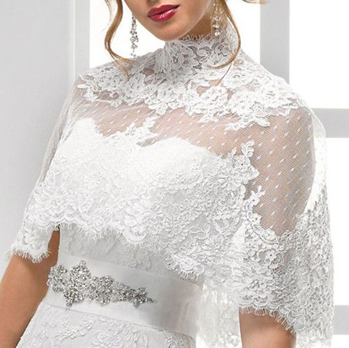 High neck button back lace jacket bolero coat bridal for Wedding dress lace bolero