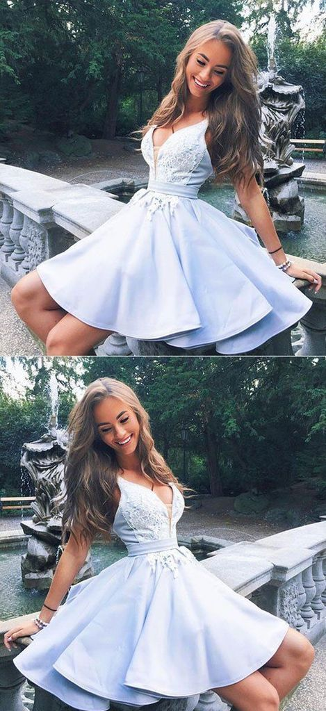 Cute v neck lace short prom dress, homecoming dress,BD49512 #promdresses #fashion #shopping #dresses #eveningdresses