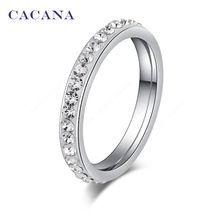 Cacana en acier inoxydable anneaux pour femmes petit CZ diamant surround bijoux…