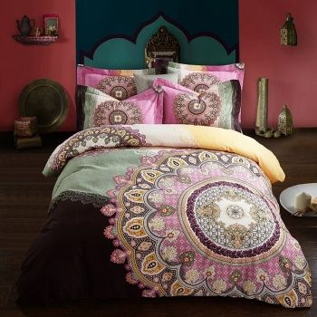 Purple Gold and Celeste Bohemian Gypsy Style Unique 100% Brushed Cotton Full, Queen Size Bedding Sets