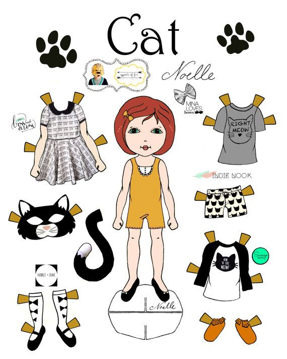 Opposite Of Far Story Book Collaboration Cat And Mouse Paper Doll Set Printable Dolls