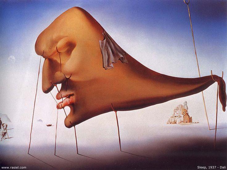Salvador Dali >> Sommeil  |  (huile, reproduction, copie, tableau, oeuvre, peinture).