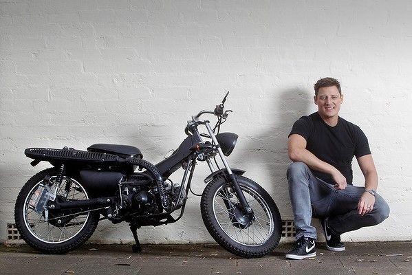 Merrick Watts and his trusty Blackmail model customised postie bike.