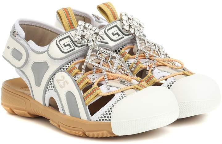 Gucci Tinsel Leather And Mesh Sandals Braided Leather Sandals Metallic Leather Sandals Gucci Leather