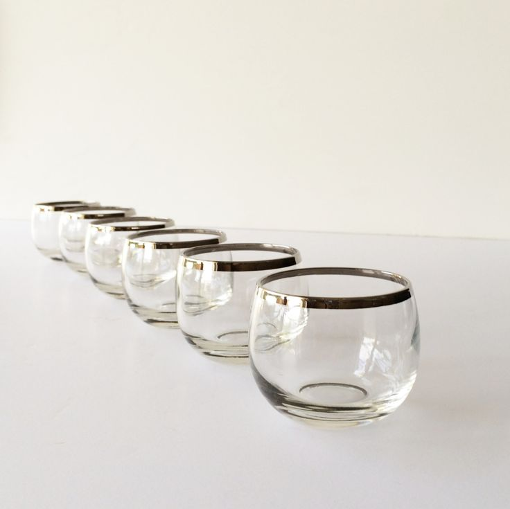 Vintage Roly Poly Glasses, Silver Band Cocktail Glasses, by #AlegriaCollection on Etsy #leeds