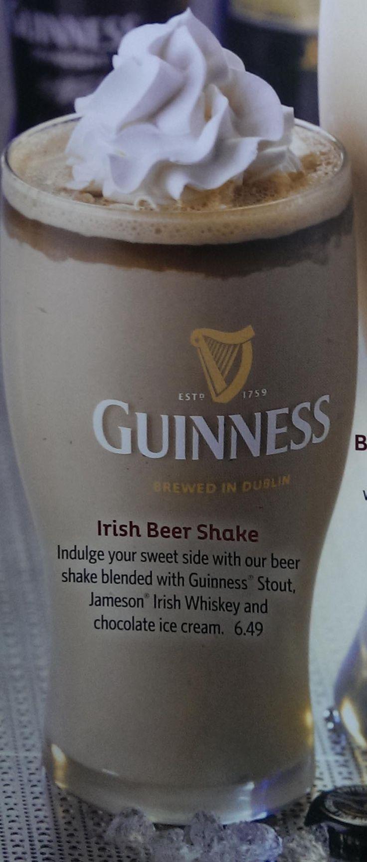 Irish Beer Shake: Guiness Stout, Jameson Irish Whiskey and chocolate ice cream