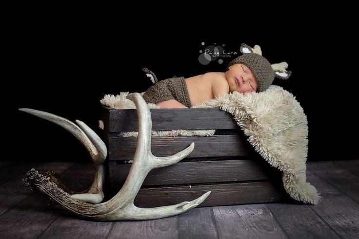 Newborn Hunting outfit   Newborn Little Deer crochet   Paige Laro Photography   Newborn http://paigelarophotography.com/