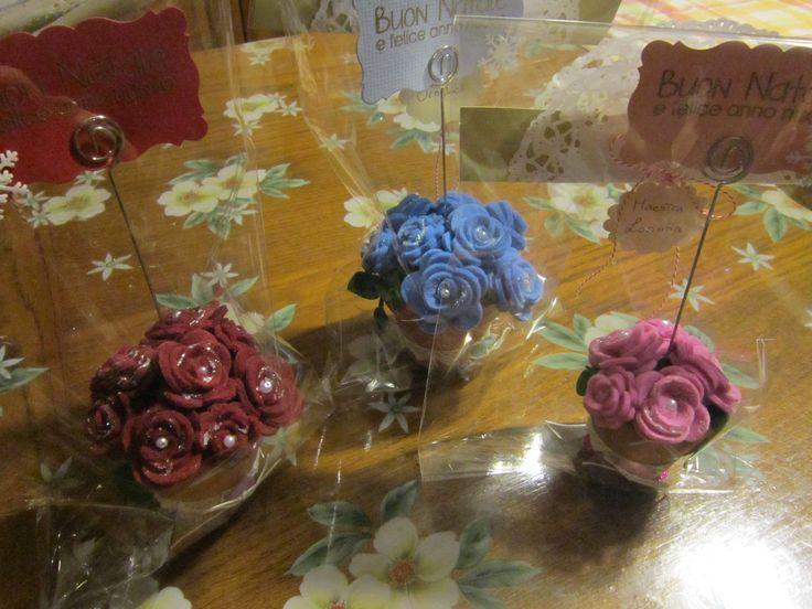 vasetti portafoto con fiori di feltro