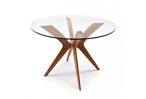 small glass dining table wooden legs - Google Search