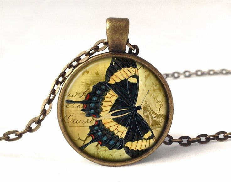 Butterfly Necklace, Glass Photo Pendant, 0704PB from EgginEgg by DaWanda.com