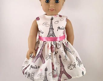 """18"""" Doll Clothes / American Made / Girl Doll Clothes / Fits 18 inch Doll / Paris Sparkle / Eiffel Tower / Ooh La La"""