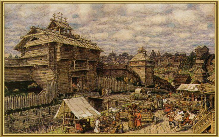 Деревянный город. Москва XIV век. А.М. Васнецов. 1917.