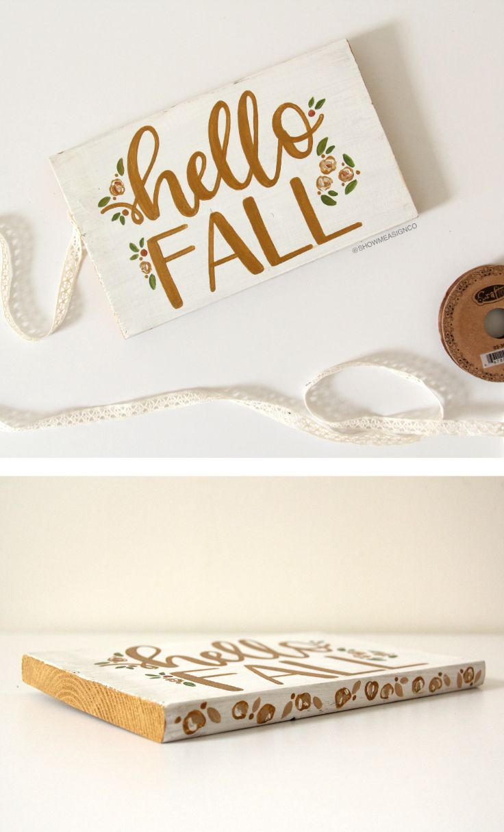 This would so be perfect on a little shelf in my living room! Hello Fall Sign | Fall Decor | Fall Wood Sign | Affordable Fall Gifts | Thanksgiving Decor | Adorable Fall Sign | Gold Fall Sign