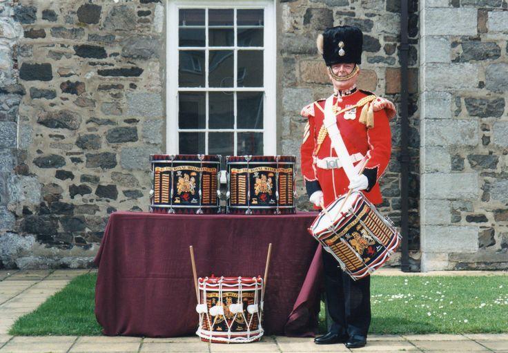 Drummer in front of Caernarfon Barracks.