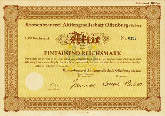 Kronenbrauerei AG Offenburg (Baden) Offenburg (Baden), Januar 1935, Aktie über 1.000 RM, #322, etwas gebräunt