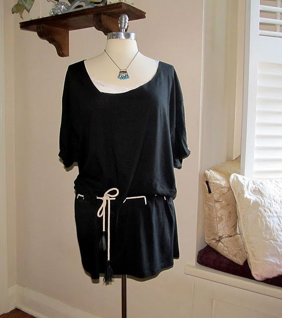 No sew tunic....could also do a long sleeve t-shirt...cut the sleeves and add elastic for a cool sleeve...: Sew Tunic From, T Shirt, No Sew, Styles, Project Re Style, Tshirt, Diy Projects, Tunics