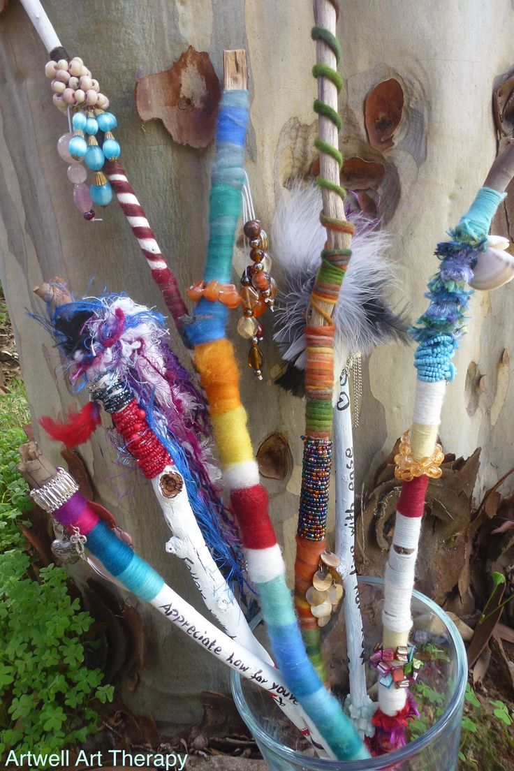 Create an intention stick and take time to reflect on aspects of your life. You set intentions and give them loving energy. It can be about gratitude, affirmations, letting go of things that don't serve you any more or something you would like to accomplish or celebrate. The stick is a tangible reminder of this.