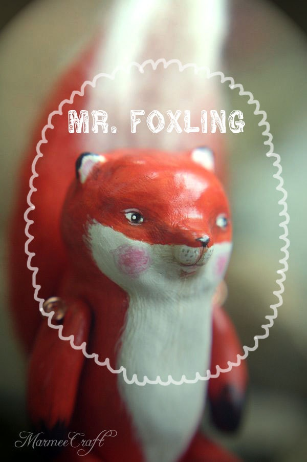 Fox woodland polymer clay art doll, Mr. Foxling. $78.00, via Etsy. (this isn't plush, but it's so cute!)