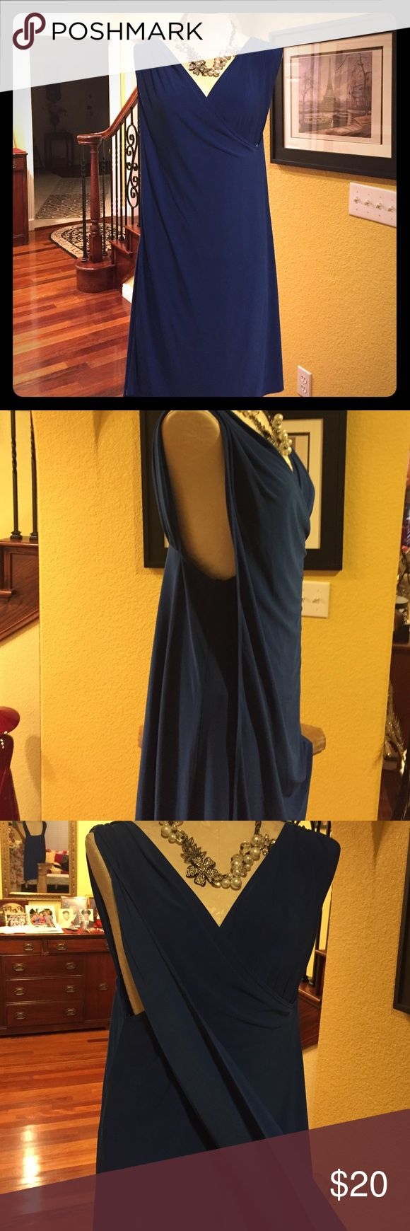 Royal blue brand new dress Beautiful no iron everyday dress. False wrap around. Short sleeve. essentials by ABS Dresses Midi