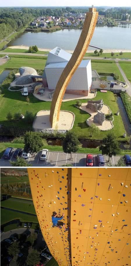 This is Excalibur, the world's highest climbing wall, located in Groningen, The Netherlands. It's over 120 feet tall! Yikes!