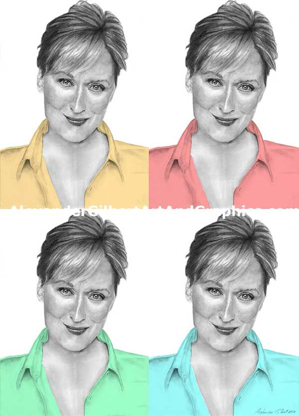 Meryl Streep celebrity artwork by Alexander Gilbert.  Buy prints here: http://fineartamerica.com/featured/meryl-streep-4up-one-print-alexander-gilbert.html  Original pencil sketch here: http://fineartamerica.com/featured/meryl-streep-pencil-alexander-gilbert.html