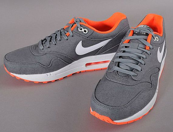 Nike Air Max 1 - Grey Denim Twill - Orange - SneakerNews.com