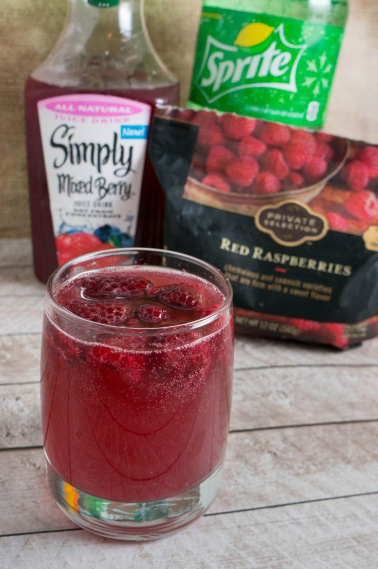 Berry Punch -sprite -Simply Berry -frozen rasberries (or choice of fruit)  This would be a good drink for a bday party or shower.