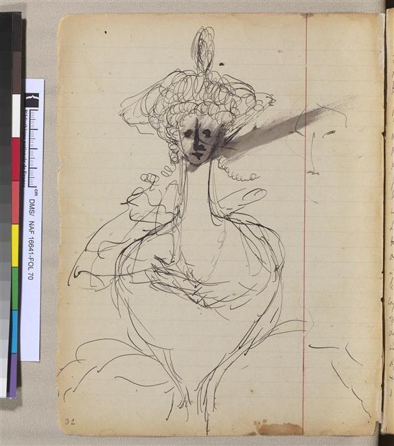 """Croquis de Marcel Proust dans un brouillon de """"Du côte de chez Swann"""" http://www.photo.rmn.fr/archive/13-560551-2C6NU05P8U4D.html"""
