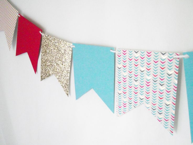 Paper garlands made to order. Made of quality cardstock in your choice of colours, patterns, shapes and sizes. Each pennant is hole-punched and strung along ribbon, twine, or yarn. Perfect for parties, special occasions, and room décor.