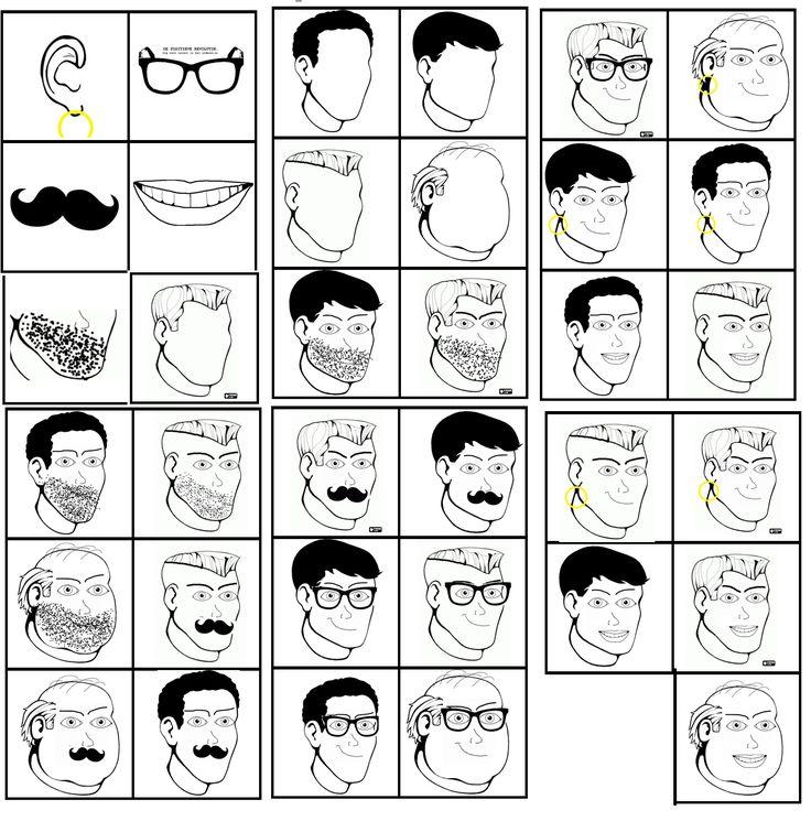 matrix vaderdag: combineer de hoofden van de papa's met de gezichtskenmerken/accessoires