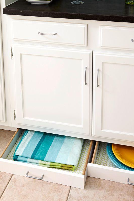 Use toe-kick area for shallow drawer storage. Storage Ideas for Kitchens without Upper Cabinets | Traditional Home