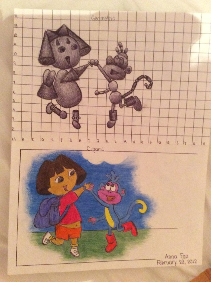 Geometric vs. Organic drawing of Dora the Explorer and Boots - using pen and coloured pencils By: Anna Fan