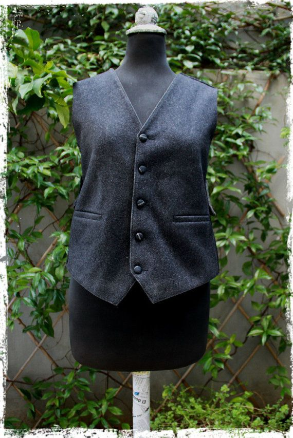 "Backless vest, a men's vest transformed into a women's vest , by ""eating the goober"""