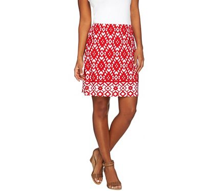 Susan Graver Choice of Solid or Print Liquid Knit Pull-On Skort - A274890 — QVC.com