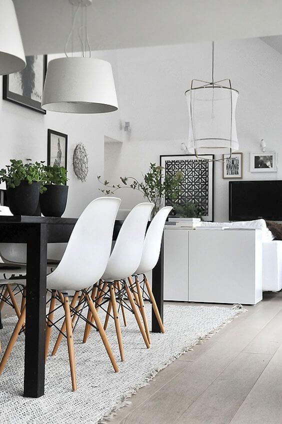 77 Gorgeous Examples of Scandinavian Interior Design Monochrome-Scandinavian-dining-room