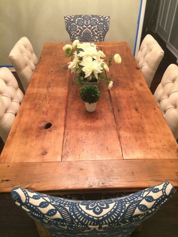 Reclaimed Barn Wood Farmhouse Table by WoodenWhaleWorkshop on Etsy