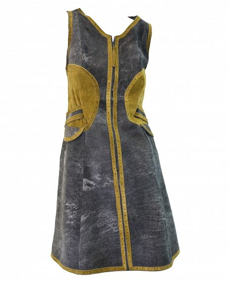 Jean Muir London Grey & Gold belted Suede dress,1960's.    Legendary dressmaker JEAN ELIZABETH MUIR (1928 – 1995) made clothes that were both radical and classic, breaking the barrier between couture and ready-to-wear. The self-taught Muir made her name in the 1960s, creating a reputation for exquisitely tailored, timeless, feminine clothing. She has been hailed as the greatest dressmaker in the world, in a league with Madame Grès, Chanel and Vionnet.